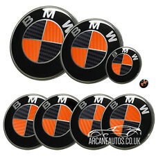 FOR BMW Carbon Fibre Black Orange Badge Decals Wrap Stickers ALL MODELS Overlays