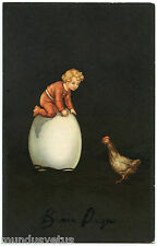 CHARMANTE PETITE FILLE. PRETTY LITTLE GIRL. POULE. HEN. PAQUES. EASTER. OEUF.EGG