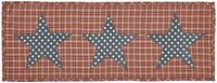 """INDEPENDENCE Red & Tan Plaid with Navy & White Stars Table Runner 13"""" x 36"""""""
