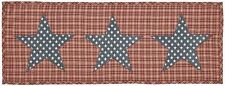 "INDEPENDENCE Red & Tan Plaid with Navy & White Stars Table Runner 13"" x 36"""