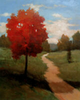 "Painting Original Acrylic on Canvas Landscape Art.""Red Tree"" by Hunoz 20"" x 16"""