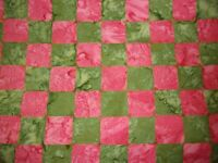 Batik Kaffe Fassett Chess Green Checked Free Spirit Quilt Cotton Fabric YARD