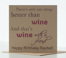 Wine Birthday Card for a special, best friend. Personalised Rustic Red Wine Card