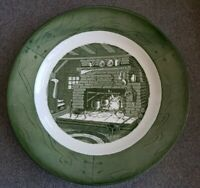 """VTG Royal Colonial Homestead Sears Green 1950's dinner plate 10"""" fireplace"""