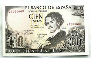 Spain-Billete. Gustavo Adolfo Becquer. 100 Pesetas. 1965. Serie V.  SC/UNC
