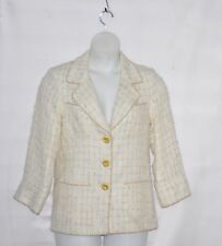 Linea by Louis Dell'Olio Metallic Boucle Jacket Size S Ivory