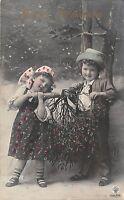 BG8790 mistletoe children boy and girl   neujahr new year greetings germany