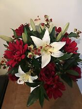 LARGE RED ROSE GERBERA, LILY & BERRY ARTIFICIAL FLOWER VASE ARRANGEMENT IN WATER