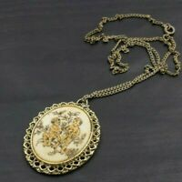 "VINTAGE GOLD TONED CHILDREN CHERUB CAMEO PENDANT NECKLACE 24"" A36"
