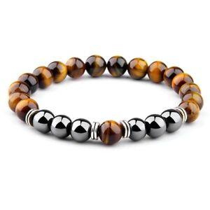 Mens Tiger Eye Hematite Chakra Bracelet Polished Natural Stone Beaded Bracelet