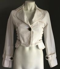 C & H White Fitted Long Sleeve Crop Jacket w Orange Stitching Size S (6-8)