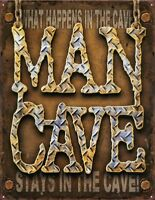 What Happens in The Man Cave Tin Metal Sign 13 x 16in
