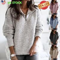 Women's Zipper Pullover Long Sleeve Knitwear Sweatshirt Jumper Warm Sweater Coat