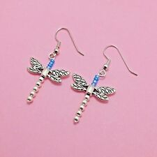 Silver Dragonfly Earrings Sterling Plated Dangle Womens Jewelry FAST SHIPPING*