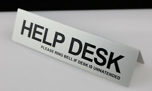 HELP DESK TABLE DESK SIGN ALUMINIUM WITH VINYIL LETTERS 195mm x 50mm GOLD SILVER