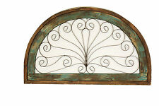 Half Moon Arch Rustic Architectural Wall Garden Window-Wood & Iron--Turquoise