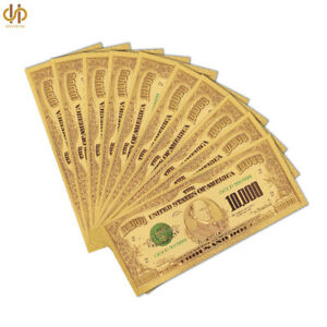 10PCS/Lot 1918 Color Gold USA Banknote $10000 Dollar Polymer Note Collection