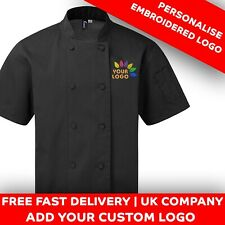 More details for personalised embroidered logo chefs jacket short sleeve unisex logo & text