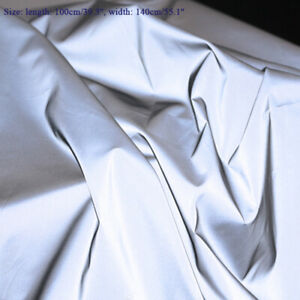 1M Silver Reflective Fabric Safety Warning Costume Cloth DIY Sewing Craft Silver