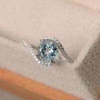 Round Aquamarine Gemstone Ring Real 1.65 ct Diamond Rings 14K White Gold MPN17