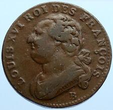 1791 B FRANCE King LOUIS XVI OLD Antique Vintage 12 Denier French Coin i96814