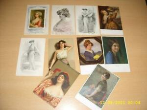 ARTIST SIGNED / ARTIST DRAWN GLAMOUR LADIES LARGE COLLECTION  VINTAGE  POSTCARDS