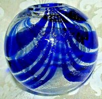 Round SIlver Speckle Art Glass Cobalt Blue Swirls VASE POT