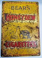 VINTAGE BEARS HONEYDEW CIGARETTES ADVERTISING TIN LONDON TOBACCIANA COLLECTIBLES