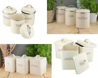 APOLLO SET OF 3 CREAM SQUARE & ROUND TEA COFFEE SUGAR KITCHEN STORAGE CANISTERS