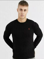 BNWT MENS POLO RALPH LAUREN CABLE KNIT JUMPER/JUMPERS/SWEATER IN BLACK MEDIUM