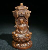 Collect Old Boxwood Japanese Netsuke carved Sakyamuni buddha Statue figurines