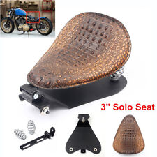 "Motorcycle Solo Seat & 3"" Spring Bracket For Harley Honda Chopper Bobber"