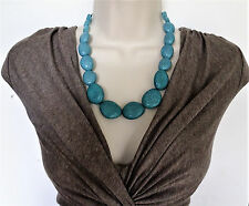 "Beautiful 20"" Turquoise Look Graduated Bead Necklace & Dangle Earring Set"
