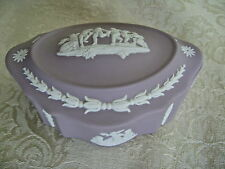 WEDGWOOD LAVENDER OR LILAC JASPERWARE LIDDED DOME COVERED OBLONG TRINKET BOX