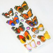 NEW 10 3D GLITTERY BUTTERFLY STICKERS SCRAPBOOK CARD MAKING ORANGE