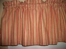 Tan Rust Stripes Striped  fabric window curtain topper Valance