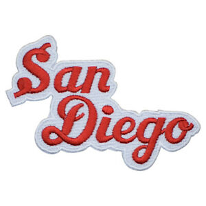"""San Diego Patch - California, CA Red/White Script Badge 4"""" (Iron on)"""