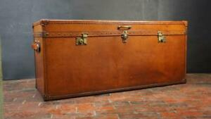 Huge Vintage Leather Console Table Trunk In Stunning Finish