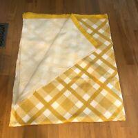Vintage 1970s Satin Edge Blanket Mustard Yellow Checked Striped Throw 90 x 64