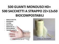500 GUANTI HD MONOUSO POLIETILENE + 500 SACCHETTI BIOCOMPOSTABILI 22+12x50 cm