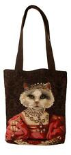belgian gobelin tapestry tote bag cat with crown jacquard woven - TB-3041