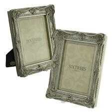 """TWINPACK Shabby & Chic Very Ornate Antique Silver Photo Frames - 8""""x6"""" pictures"""