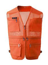 Mens sport Sleeveless vest Multi pockets Mesh fishing hunting work wear vests