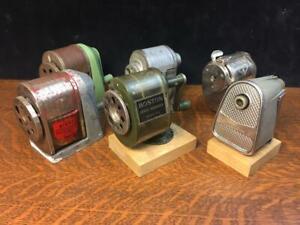 Lot of 6 Vintage Pencil Sharpeners Manual Old Hand Crank Apsco Swingline Boston