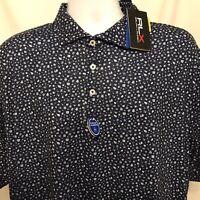 RLX Ralph Lauren Mens Sz XL Polo Golf Shirt Navy Blue Floral Print NWT $98.50