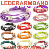 Armband Shamballa echt Leder Magnetschließe Strass Lederarmband Armbänder Trend