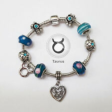 Stylish Taurus Zodiac Silver Blue Murano Teal Rhinestone Heart Charm Bracelet