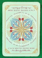 Playing Cards 1 Single Card Old Wide C.W.S. WHITE OLIVE SOAP Advertising Flowers