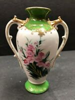 Vintage Antique Green And White Gilded Handled Small Floral Flower Vase