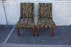 Pair of Modern Mahogany Spring Side End Chairs, c. 1940, New Upholstery